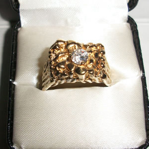 Vintage Nugget Gold Gilded Solid Sterling Ring